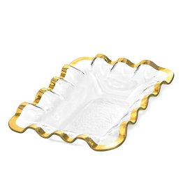 Annie Glass Annie Glass Ruffle Bread Basket Gold