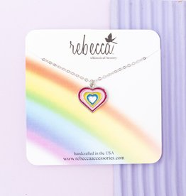 Rebecca Rainbow Heart Necklace