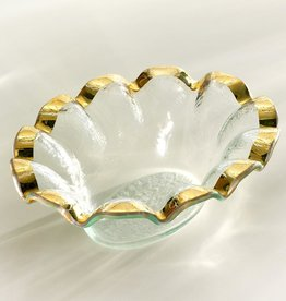 Annie Glass Annie Glass Gold Ruffle Dip Bowl