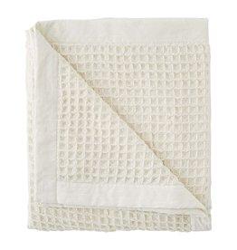 Mudpie White Waffle Weave Blanket