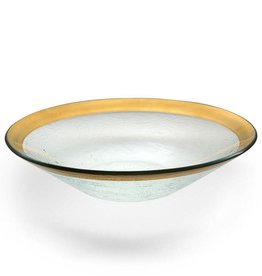"Annie Glass Annie Glass 13-1/4"" Gold Wok Bowl"