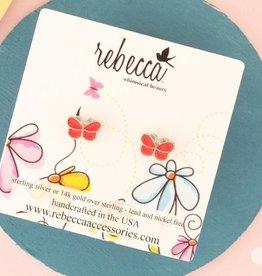 Rebecca Orange butterfly post earrings