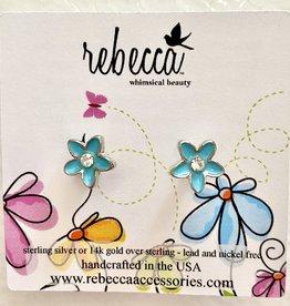 Rebecca Plumeria flower post earrings