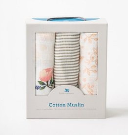 Cotton Muslin Swaddle 3 Pack - Garden Rose Set