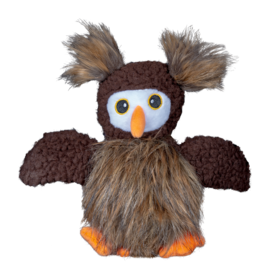 Spunky Pup Furry Friends Owl with Ball Squeaker Dog Toy