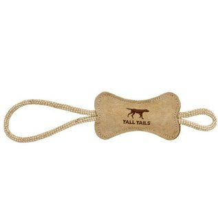 Tall Tails Natural Leather Bone Dog Toy, 6-in