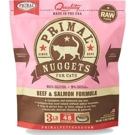 Primal Beef & Salmon Raw Frozen Cat Food, 3-lb Bag Nuggets