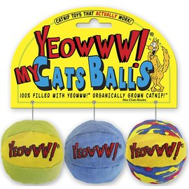 Yeowww! Catnip Yeowww! My Cat's Balls Catnip Cat Toys, 3-Pack