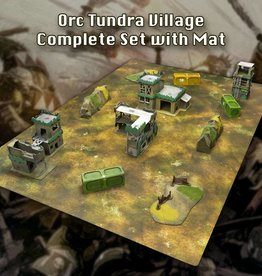 Frontline Gaming ITC Terrain Series: Orc Tundra Village Complete Set With Mat