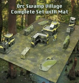 Frontline Gaming ITC Terrain Series: Orc Swamp Village Complete Set With Mat
