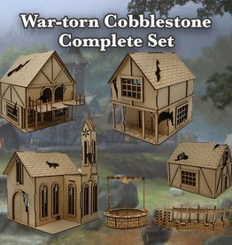Frontline Gaming ITC Terrain Series: War-torn Cobblestone Village Complete Set