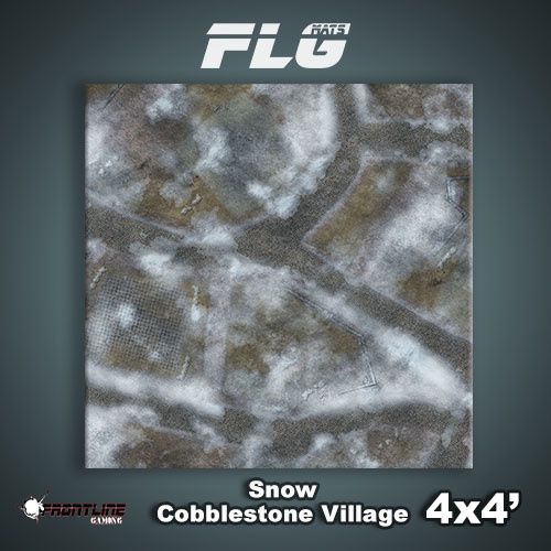 Frontline Gaming FLG Mats: Snow Cobblestone Village 4x4'