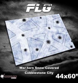 "Frontline-Gaming FLG Mats: War-torn Snow Covered Cobblestone City 44"" x 60"""