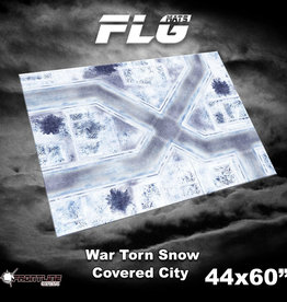 "Frontline-Gaming FLG Mats: War-torn Snow Covered City 44"" x 60"""