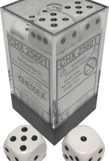 Chessex Chessex Opaque White w/Black Set of 12 d6 Dice