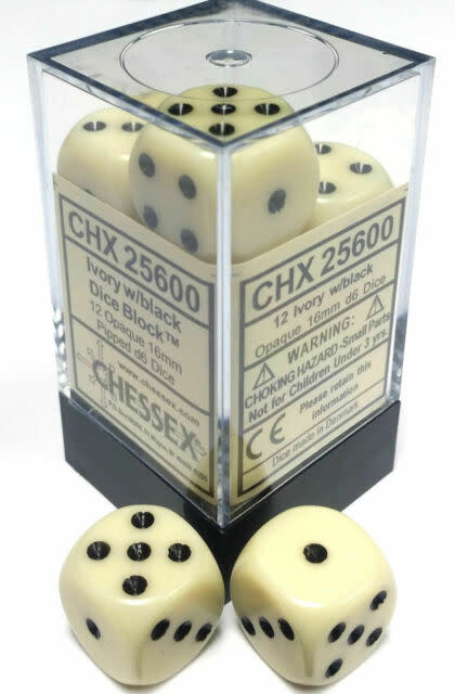 Chessex Chessex Opaque Ivory w/Black Set of 12 d6 Dice