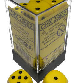 Chessex Chessex Opaque Yellow w/Black Set of 12 d6 Dice