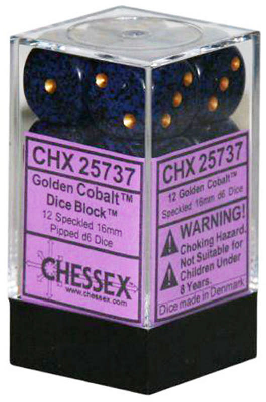 Chessex Chessex Speckled Golden Cobalt Set of 12 d6 Dice