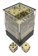 Chessex Chessex Opaque Ivory w/Black Set of 36 d6 Dice