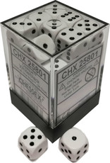 Chessex Chessex Opaque White w/Black Set of 36 d6 Dice