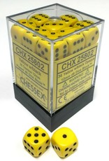 Chessex Chessex Opaque Yellow w/Black Set of 36 d6 Dice