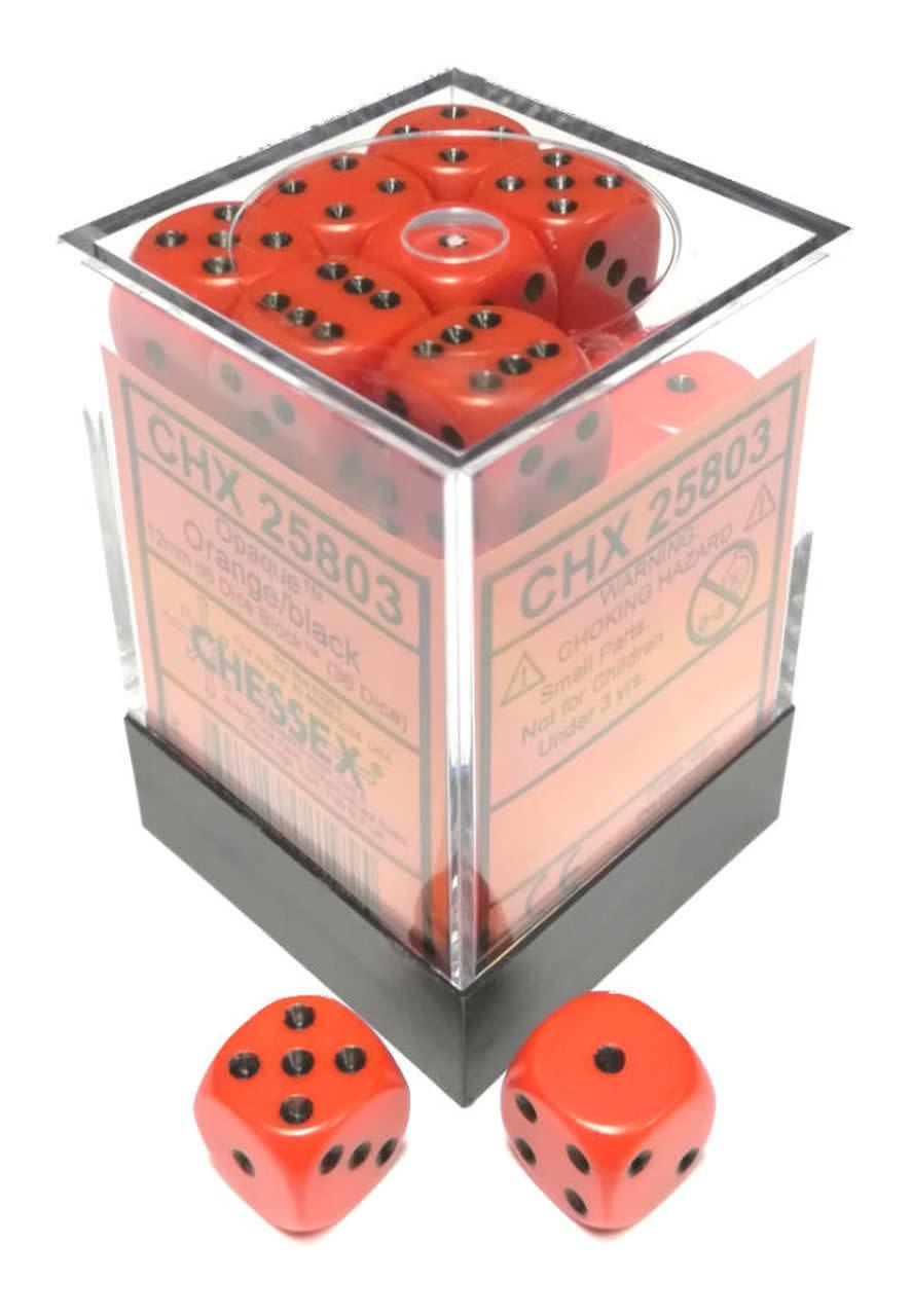 Chessex Chessex Opaque Orange w/Black Set of 36 d6 Dice