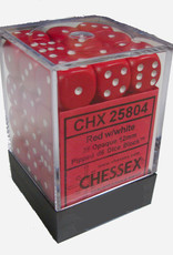 Chessex Chessex Opaque Red w/White Set of 36 d6 Dice