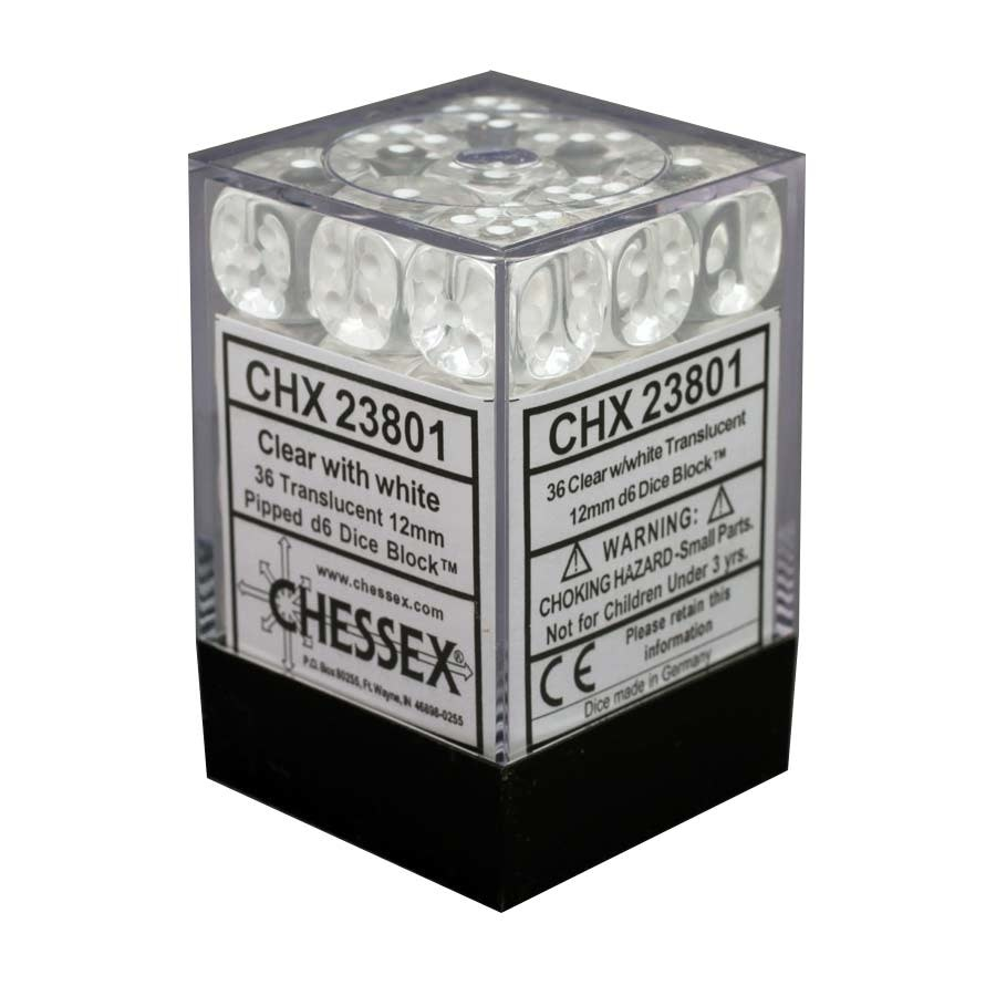 Chessex Chessex Translucent Clear/White Set of 36 D6 Dice