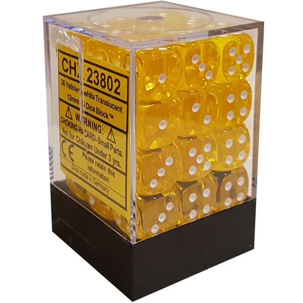 Chessex Chessex Translucent Yellow/White Set of 36 D6 Dice