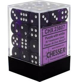 Chessex Chessex Translucent Purple/White Set of 36 D6 Dice