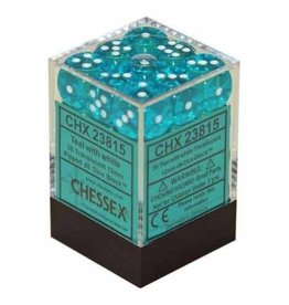 Chessex Chessex Translucent Teal/White Set of 36 D6 Dice