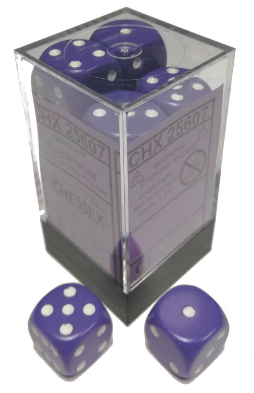 Chessex Chessex Opaque Purple/White Set of 12 D6 Dice