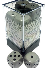 Chessex Chessex Opaque Dark Grey/Black Set of 12 D6 Dice
