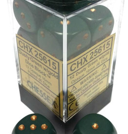 Chessex Chessex Opaque Dusty Green/Cppr Set of 12 D6 Dice