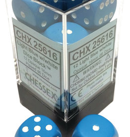 Chessex Chessex Opaque Light Blue/White Set of 12 D6 Dice
