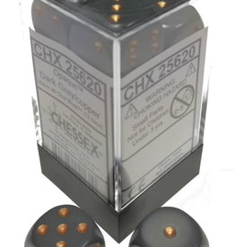 Chessex Chessex Opaque Dark Grey/Copper Set of 12 D6 Dice
