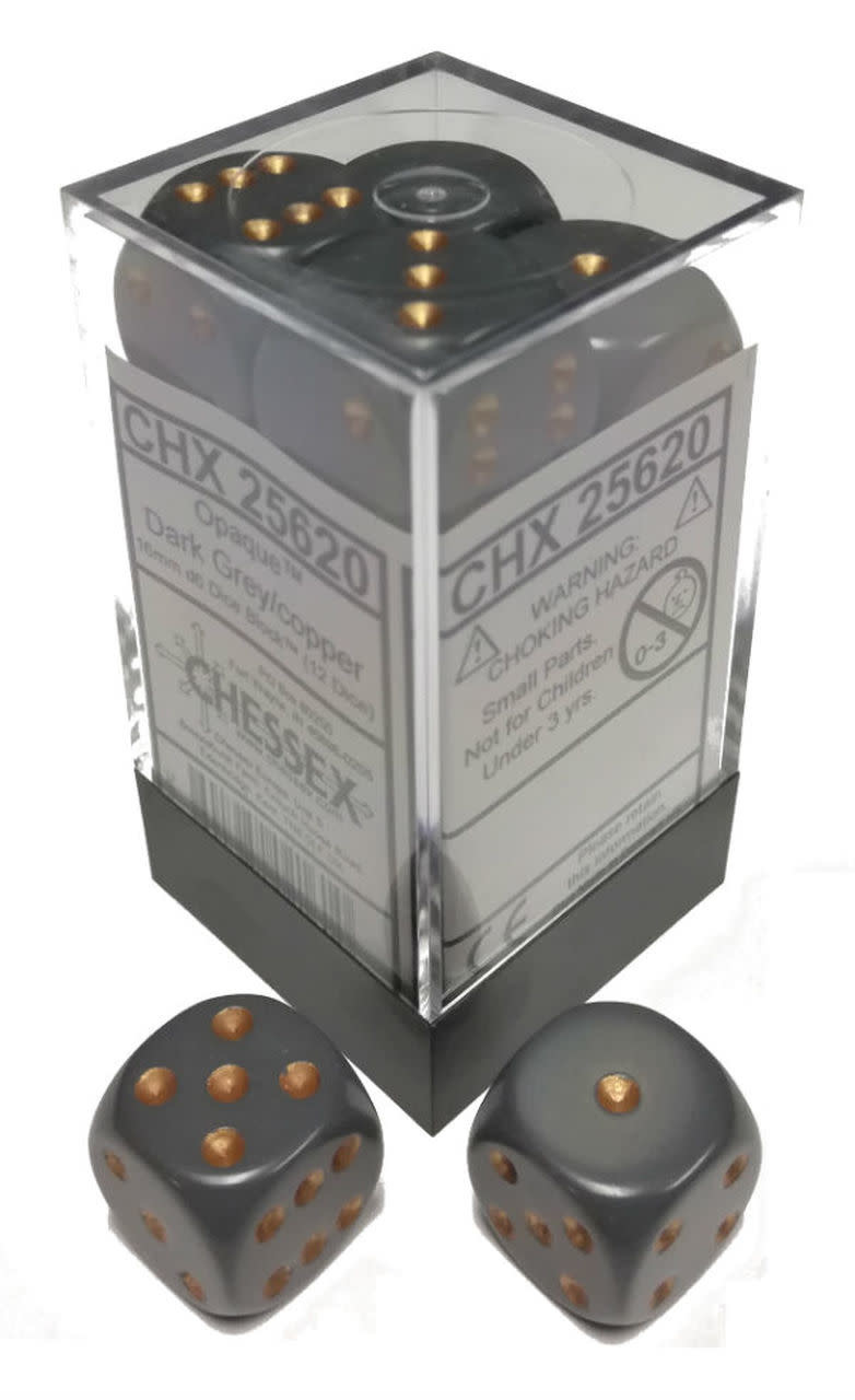 Chessex Chessex Opaque Dark Grey/Copper Set of 12 D6 Dice
