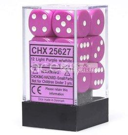 Chessex Chessex Opaque Light Purple/White Set of 12 D6 Dice
