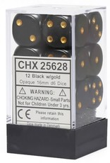 Chessex Chessex Opaque Black/Gold Set of 12 D6 Dice