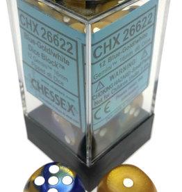 Chessex Chessex Gemini Blue-Gold/White Set of 12 D6 Dice