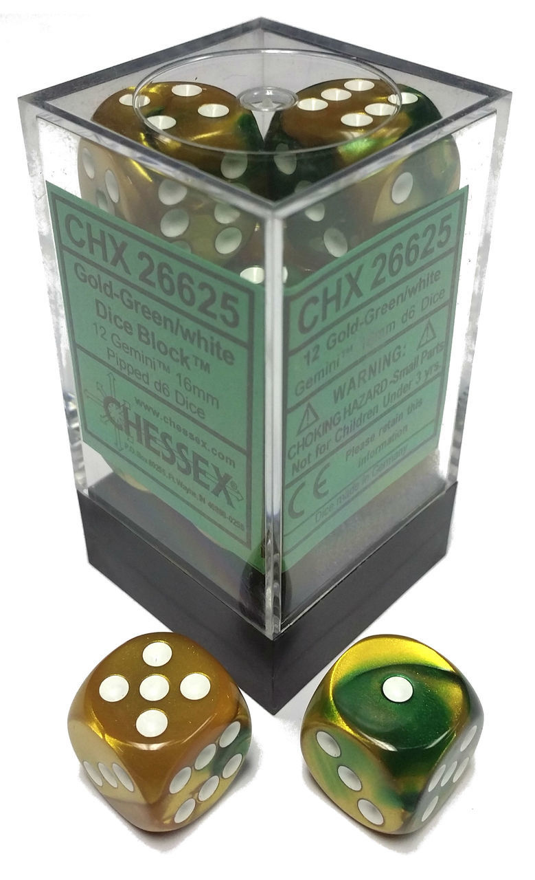 Chessex Chessex Gemini Gold-Green/White Set of 12 D6 Dice
