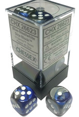 Chessex Chessex Gemini Blue-Steel/White Set of 12 D6 Dice