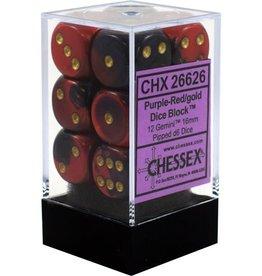 Chessex Chessex Gemini Purple-Red/Gold Set of 12 D6 Dice
