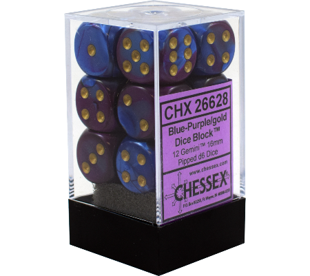 Chessex Chessex Gemini Blue-Purple/Gold Set of 12 D6 Dice