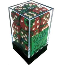 Chessex Chessex Gemini Green-Red/White Set of 12 D6 Dice