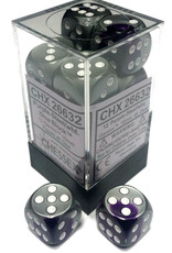 Chessex Chessex Gemini Purple-Steel/White Set of 12 D6 Dice