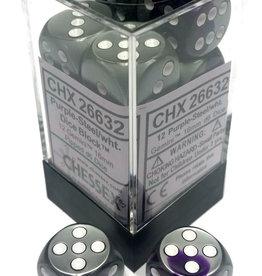 Chessex Chessex Gemini Purple-Steel/White Set of 12 D6 Dice