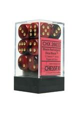 Chessex Chessex Gemini Black-Red/Gold Set of 12 D6 Dice