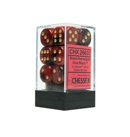 Chessex Chessex Gemini Black-Red/Gold Set of 12 D6 Dice