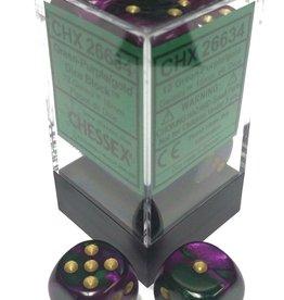 Chessex Chessex Gemini Green-Purple/Gold Set of 12 D6 Dice